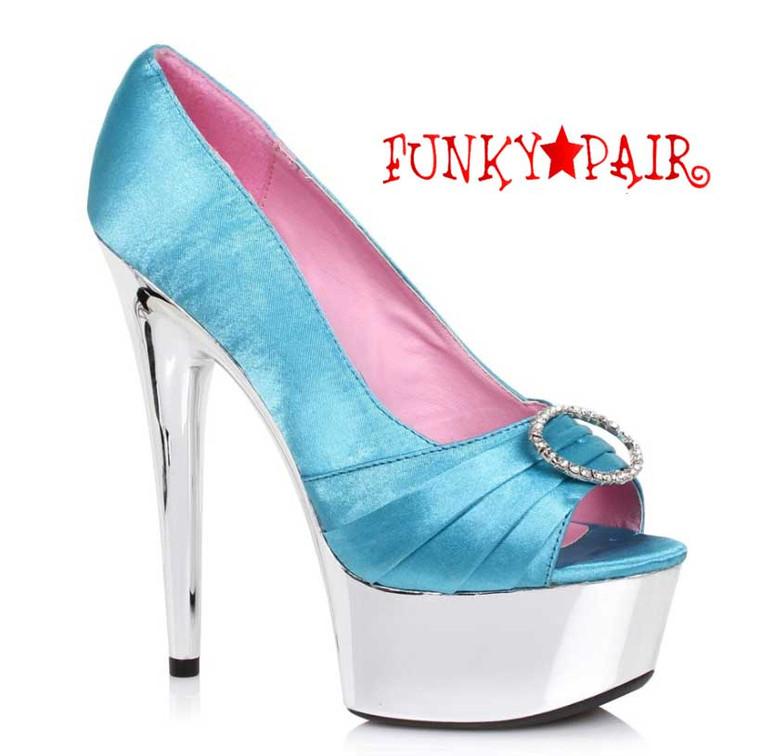 """Teal 609-Lauren 6"""" Satin Peep Toe Pump Ellie Shoes"""