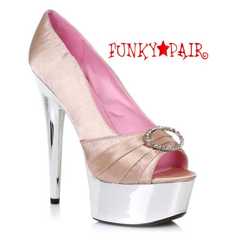 """Champagne 609-Lauren 6"""" Satin Peep Toe Pump Ellie Shoes"""