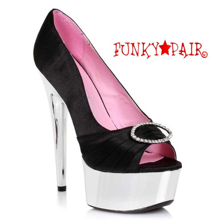 "Black 609-Lauren 6"" Satin Peep Toe Pump Ellie Shoes"