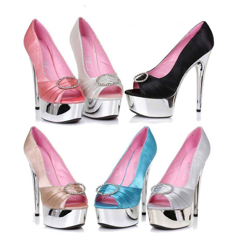 "609-Lauren 6"" Satin Peep Toe Pump Ellie Shoes"