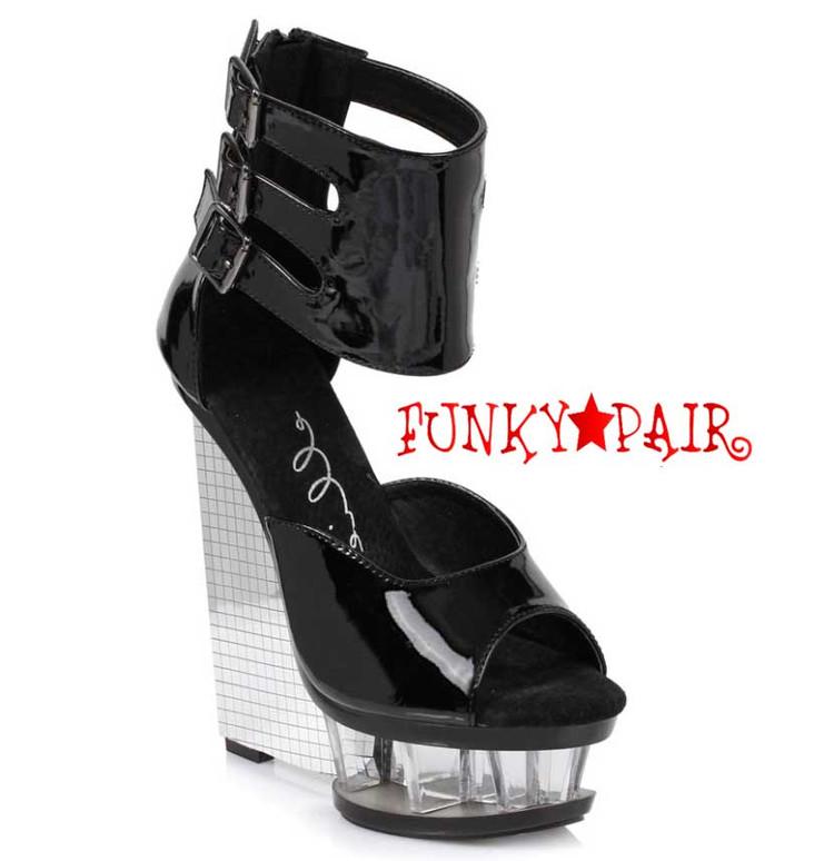 "Black Ellie Shoes | 610-Mira 6"" Wedge Ankle Strap Sandal"
