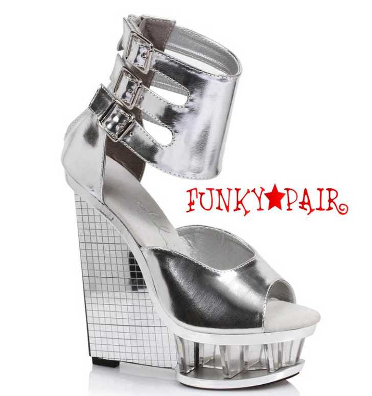 """Silver 610-Mira 6"""" Wedge Ankle Strap Sandal  Ellie Shoes"""
