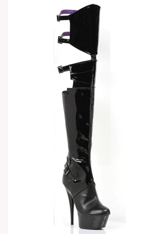 609-Felicia, 6 Inch Thigh High Boots with Cut-out