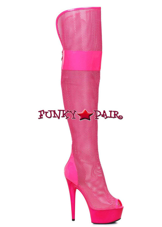 Ellie Shoes | 609-Ivy 6 Inch Mesh Thigh High Boots