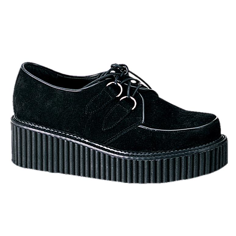 Demonia | Women Black Suede Creeper-101 Shoes
