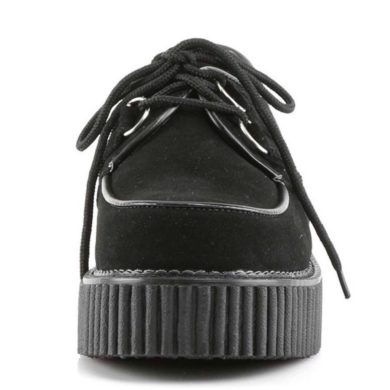Demonia | Creeper-101 Women Black Suede Creeper Shoes