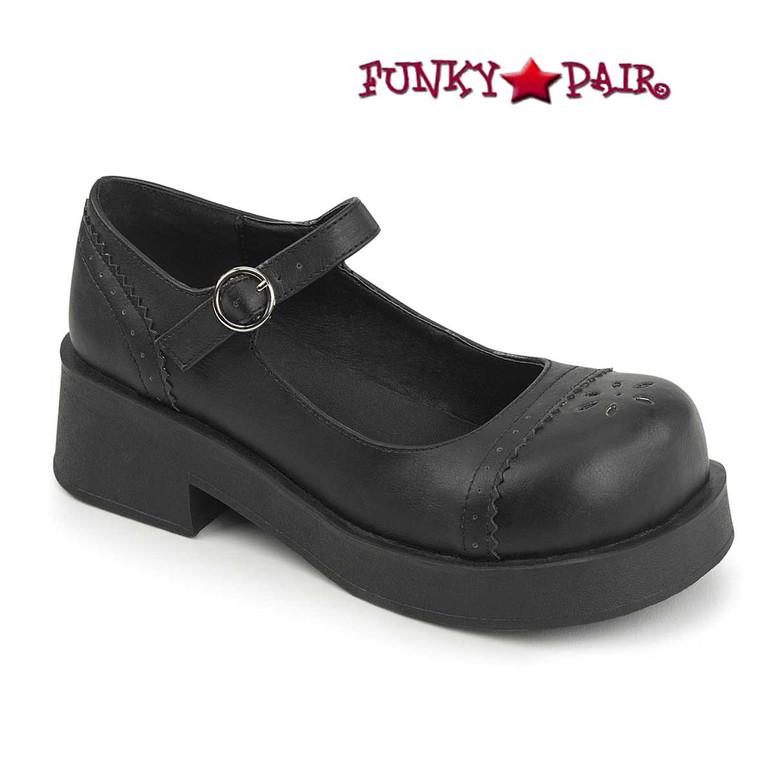 Demonia Shoes CRUX-07, Goth Punk Mary Jane Shoes