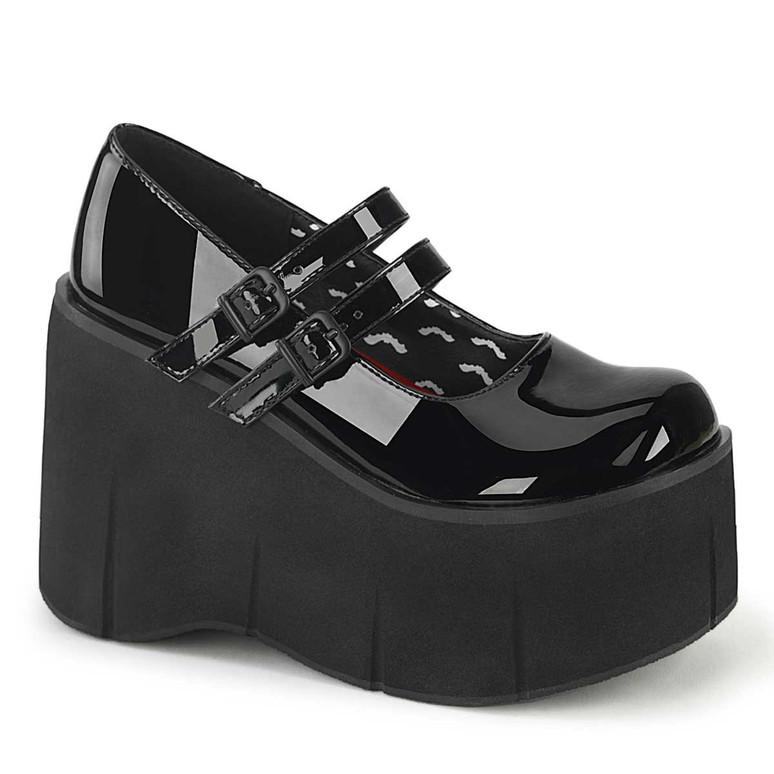 Demonia Kera-08 Black Double Strap Goth Platform Shoes