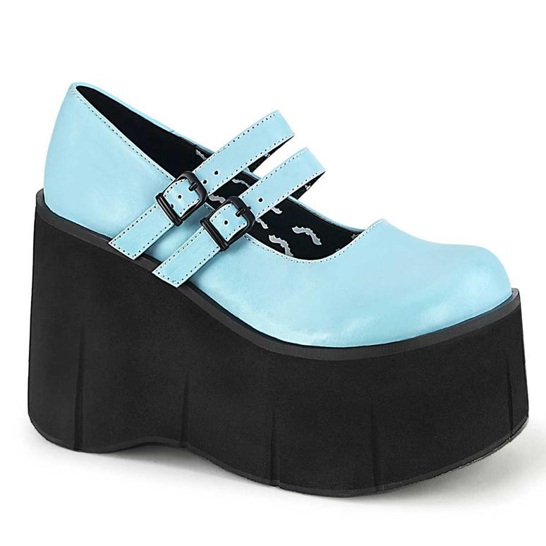 Kera-08 Baby Blue Vegan LeatherDouble Strap Goth Platform Shoes by Demonia