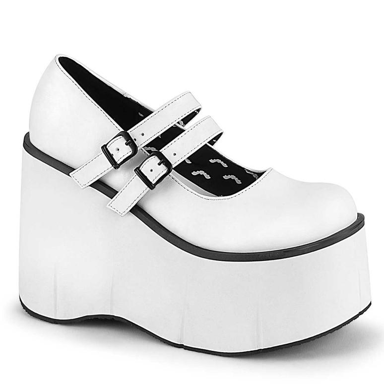 Kera-08 White Vegan Leather Double Strap Goth Platform Shoes by Demonia