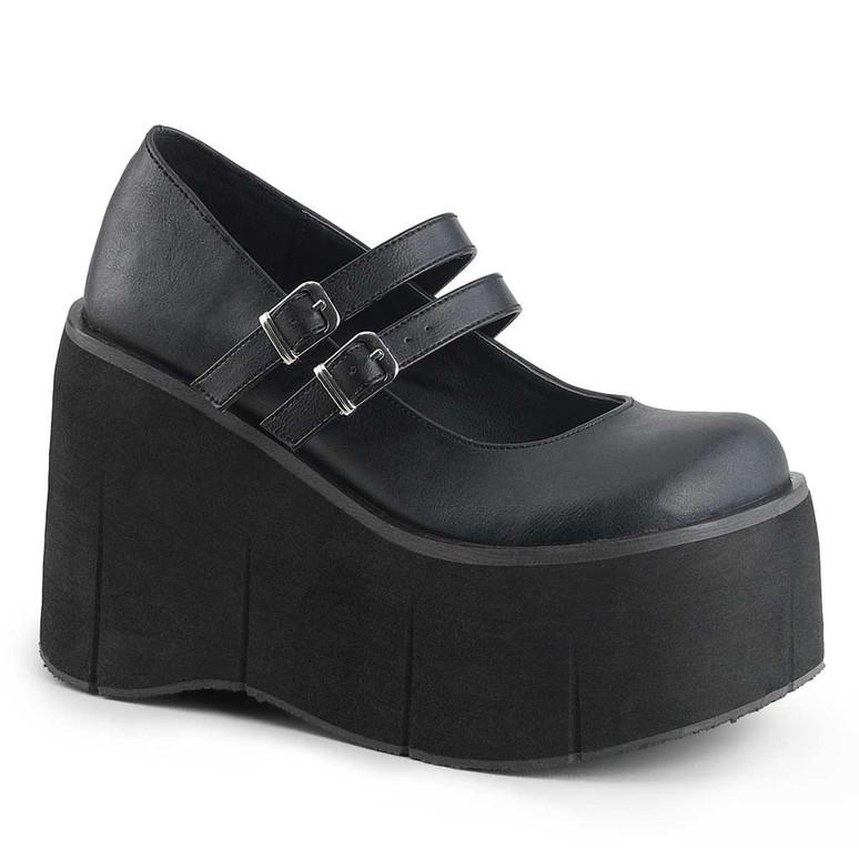 Kera-08 Black Vegan Leather Double Strap Goth Platform Shoes by Demonia