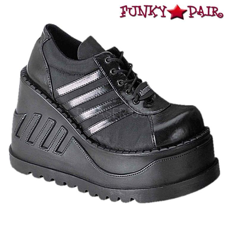 Black Platform Sneaker Shoes Made by Demonia Stomp-08