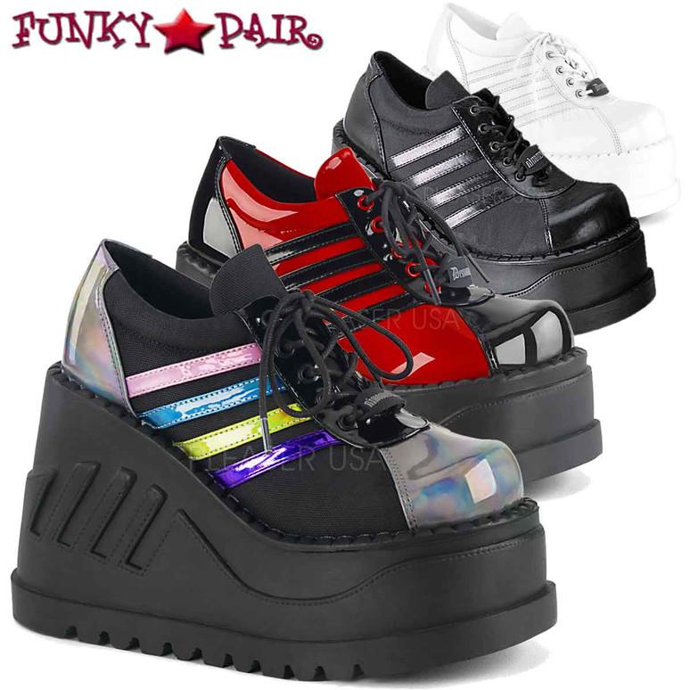 Demonia   Stomp-08, Black Platform Sneaker Shoes   FunkyPair.com