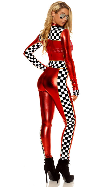 Car Racer costume includes metallic with mesh insets catsuit with checkered contrast, gloves and glasses. (Checkered Bra and flag not included)