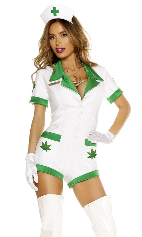 Sexy Herbal Nurse costume includes: Two-tone romper, patch detail, matching headpiece and gloves. (NECKLACE NOT INCLUDED)