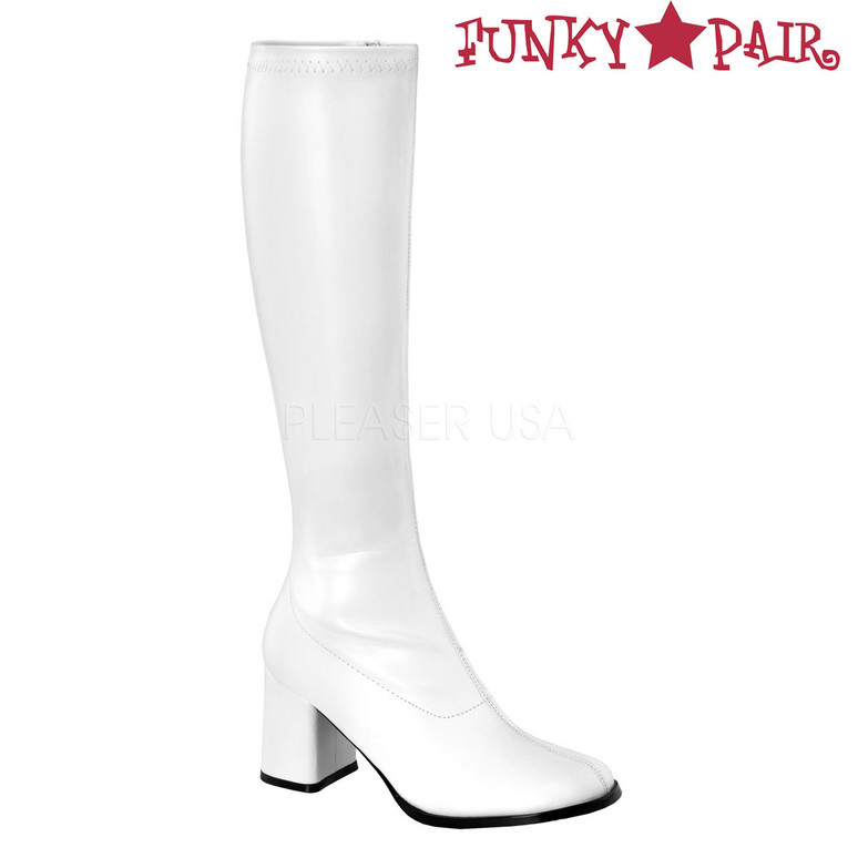 White Faux Leather GoGo-300 Women's Go Go Boots | Pleaser