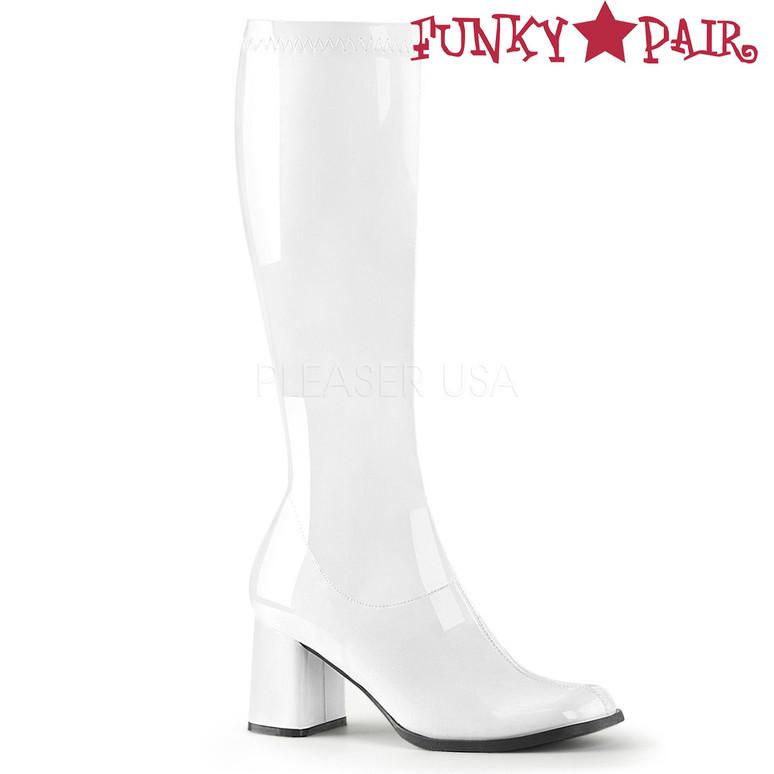 White Patent Women's Go Go Boots GoGo-300 | Funtasma