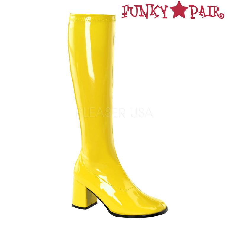 Yellow GoGo-300 Women's Go Go Boots | Pleaser