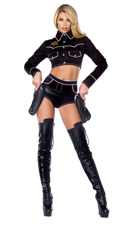 Sexy Cowgirl costume includes: Crop top with Western accents and matching cheeky high-waisted shorts. (GUN HOLSTER BELT NOT INCLUDED)
