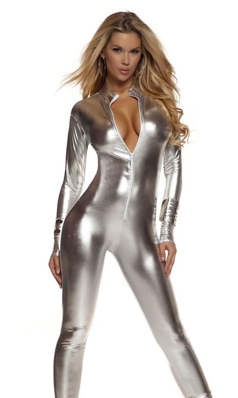 Sexy metallic mock neck zip front costume starter catsuit.