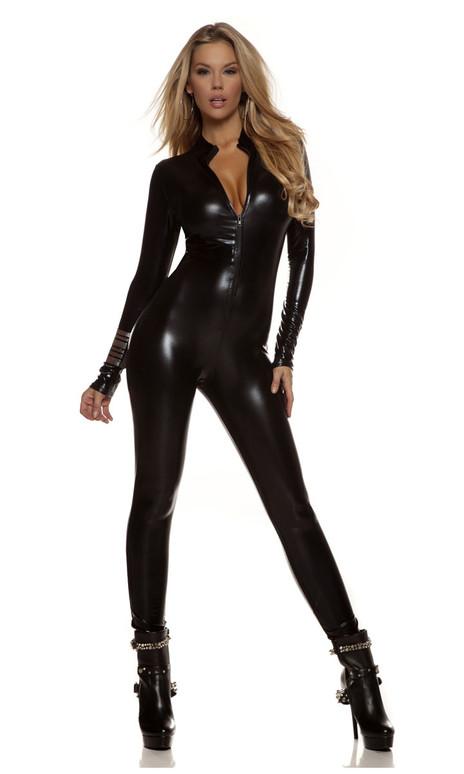 FP-113505, Metallic Mock Neck Zipfront Catsuit Costume