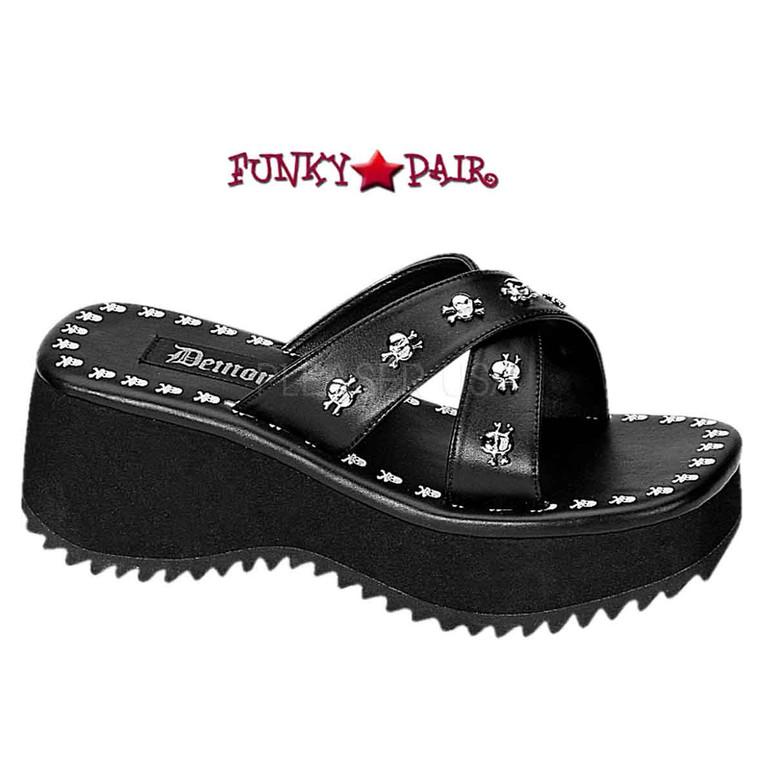 Demonia Flip-05, Women's  Platform Sandals black faux leather