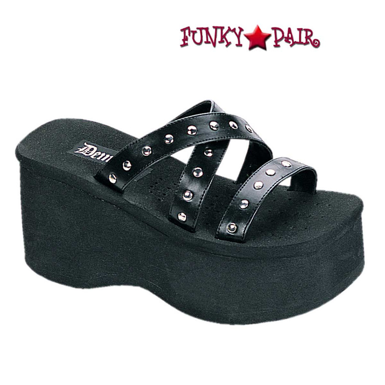 Funn-19 Studded Straps Black Sandal by Demonia