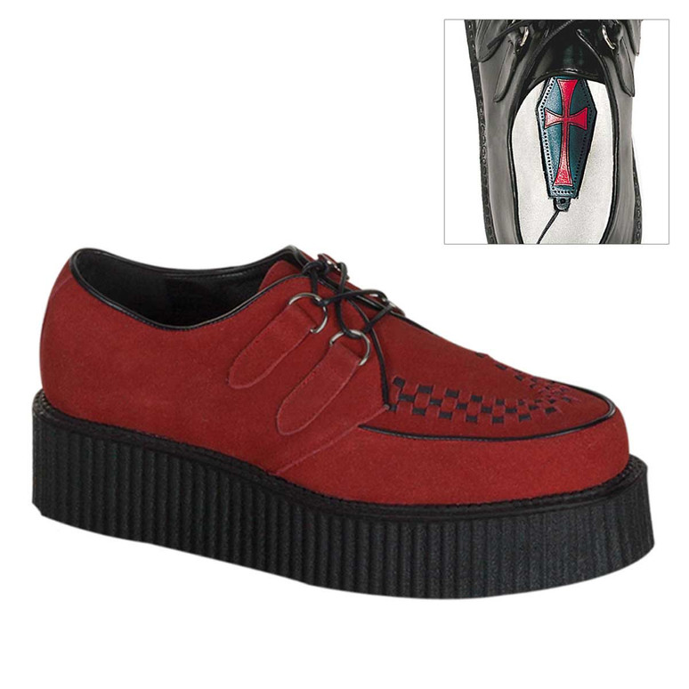 Men's Creeper-402S Basic Red Suede Demonia Shoes