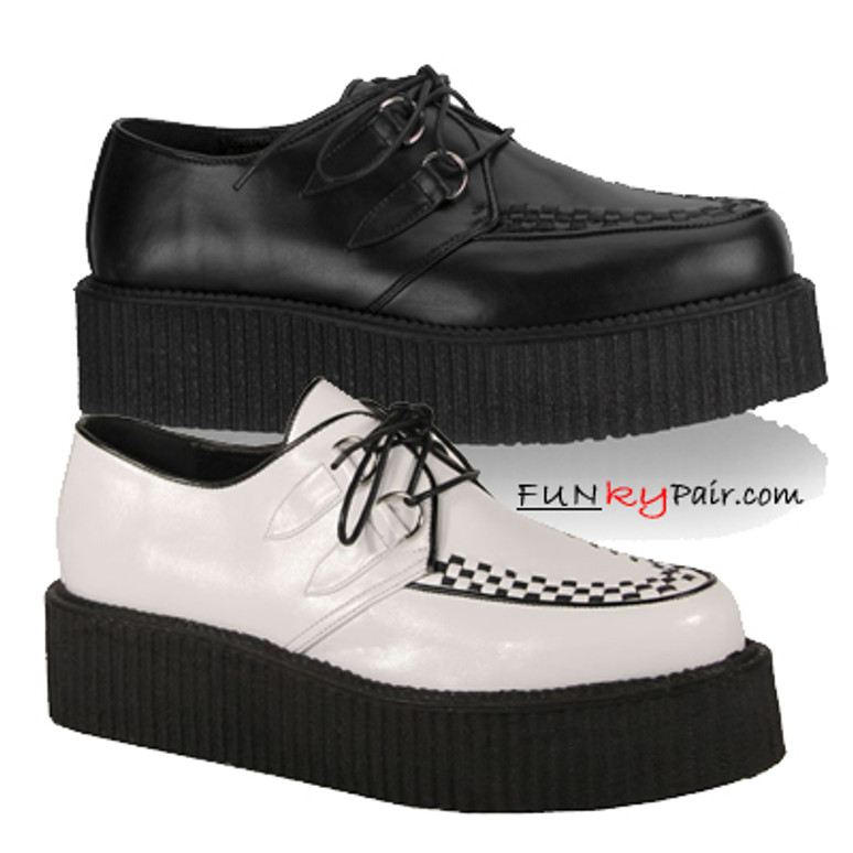 V-CREEPER-502, men gothic shoes leather Made by Demonia
