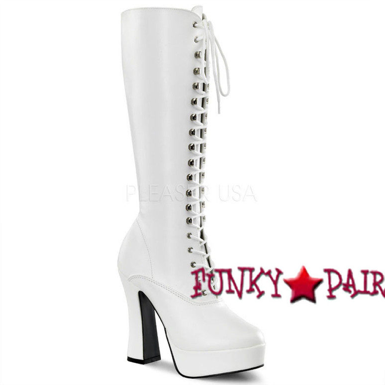white Lace-Up Stripper Boots ELECTRA-2020 Lace-Up white faux leather