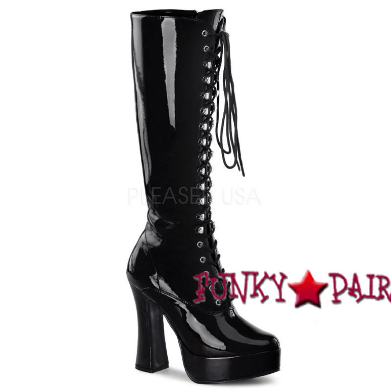 shinny black Lace-Up Stripper Boots ELECTRA-2020 Lace-Up black patent