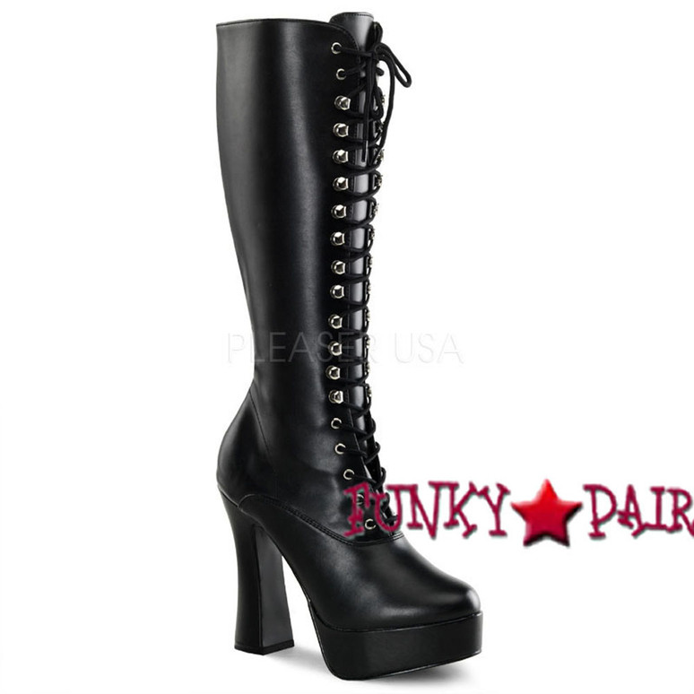 black Lace-Up Stripper Boots ELECTRA-2020 Lace-Up black faux leather