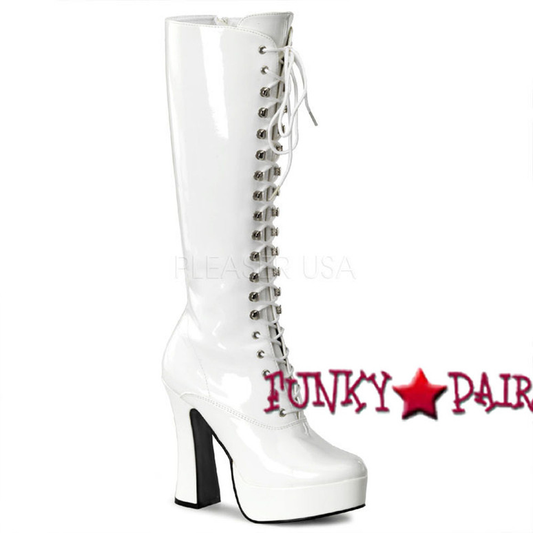 Stripper Boots ELECTRA-2020 Lace-Up white patent