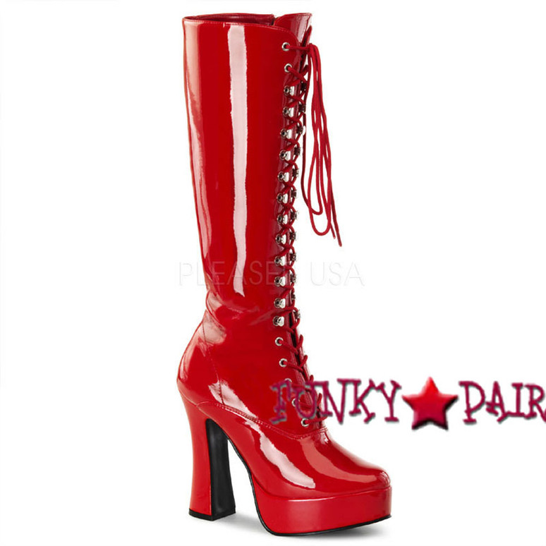Stripper Boots ELECTRA-2020 Lace-Up red patent