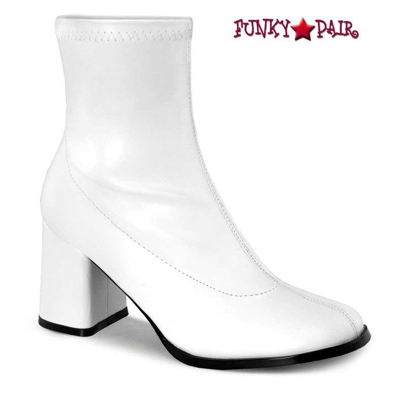 Pleaser GOGO-150, Women's Go Go Ankle Boot color White Faux Leather