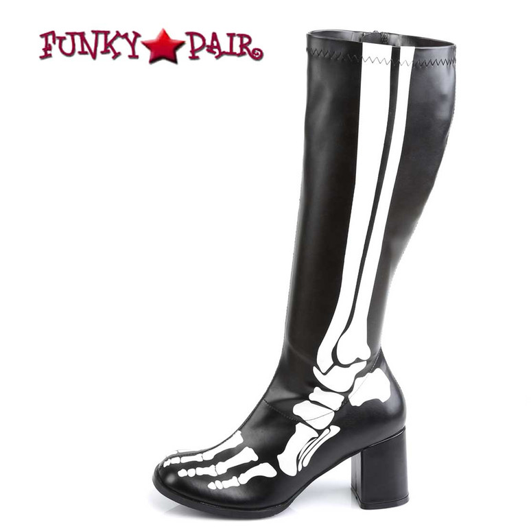 GOGO-300XRAY, Boots with X-ray Skeleton print | Funtasma Side View