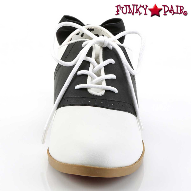 Front View Saddle-53, Saddle Shoes with Bow | Funtasma