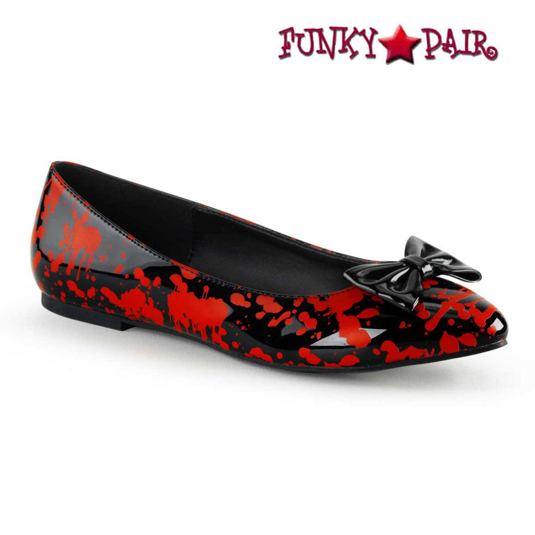 Vail-20BL, Black Flats with Blood Prints by Funtasma