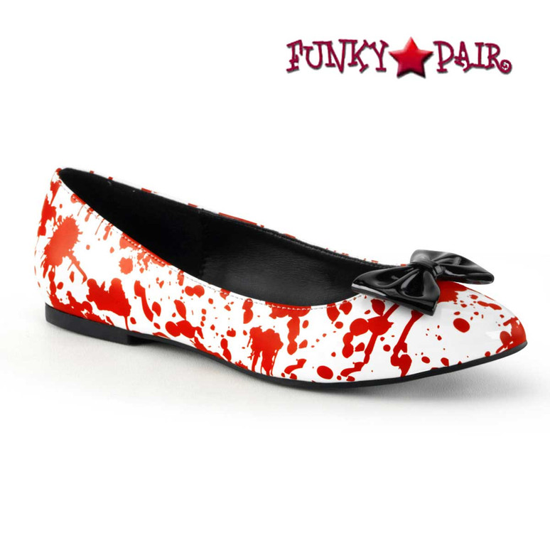 Vail-20BL, White Flats with Blood Prints by Funtasma