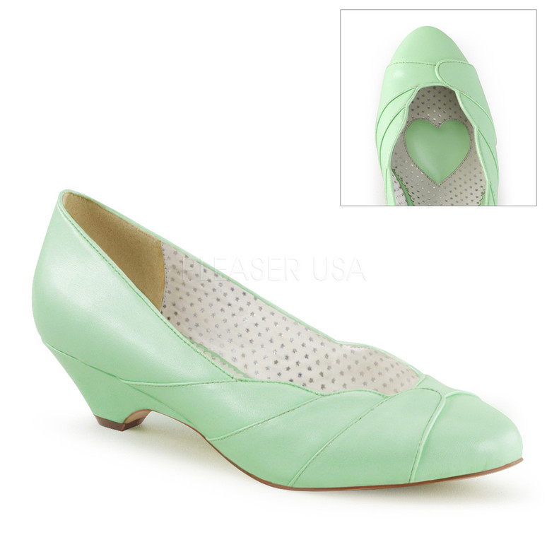 Lulu-05, Mint Kitten Heel Wedge Pump | Pin-Up Couture