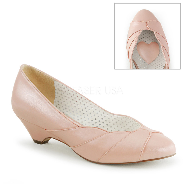 Lulu-05, Baby Pink Kitten Heel Wedge Pump | Pin-Up Couture