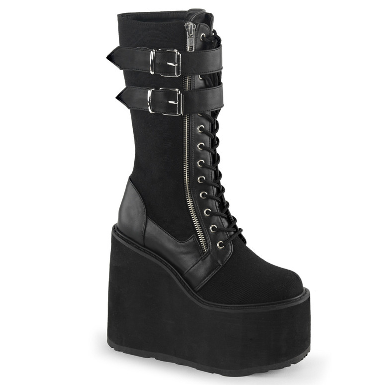 Swing-221, Wedge Double Buckles Strap Knee High Boots by Demonia