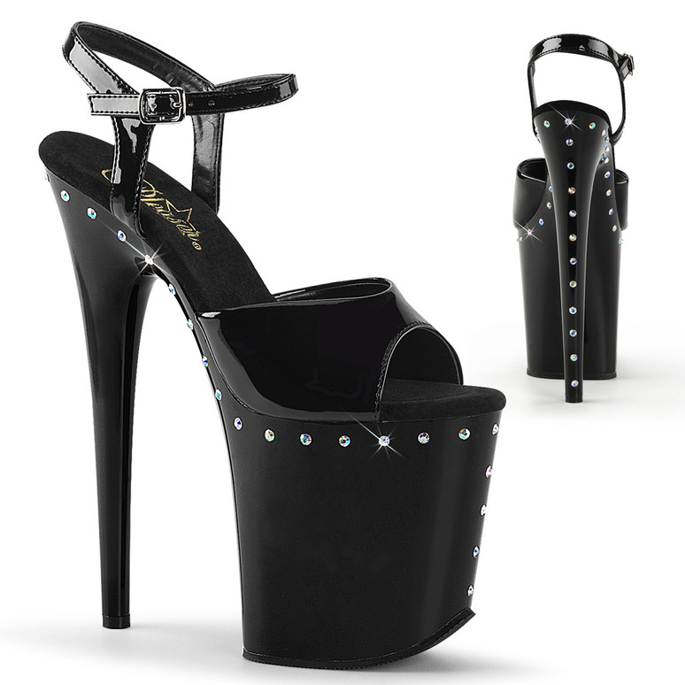 "8"" Exotic Dancer Platform with Rhinestones by Pleaser Flamingo-809ABLS"