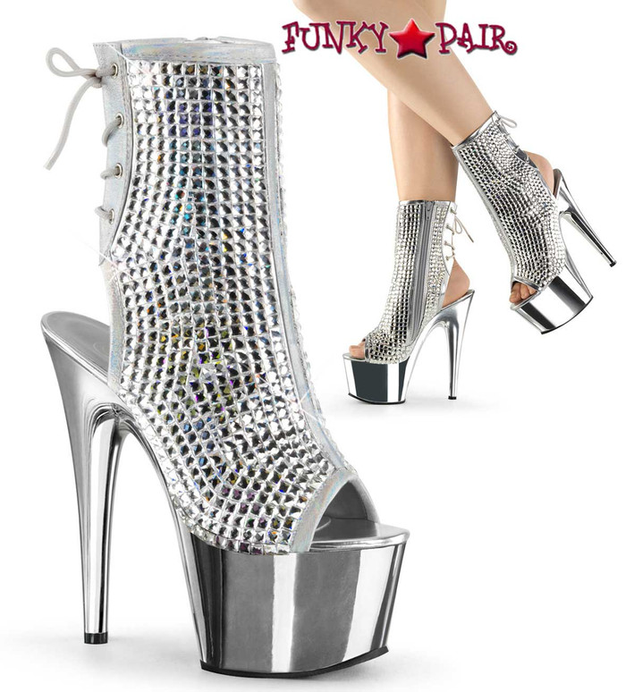 Pleaser   Adore-1018DCS, Ankle Boots with Diamond Cut Rhinestones