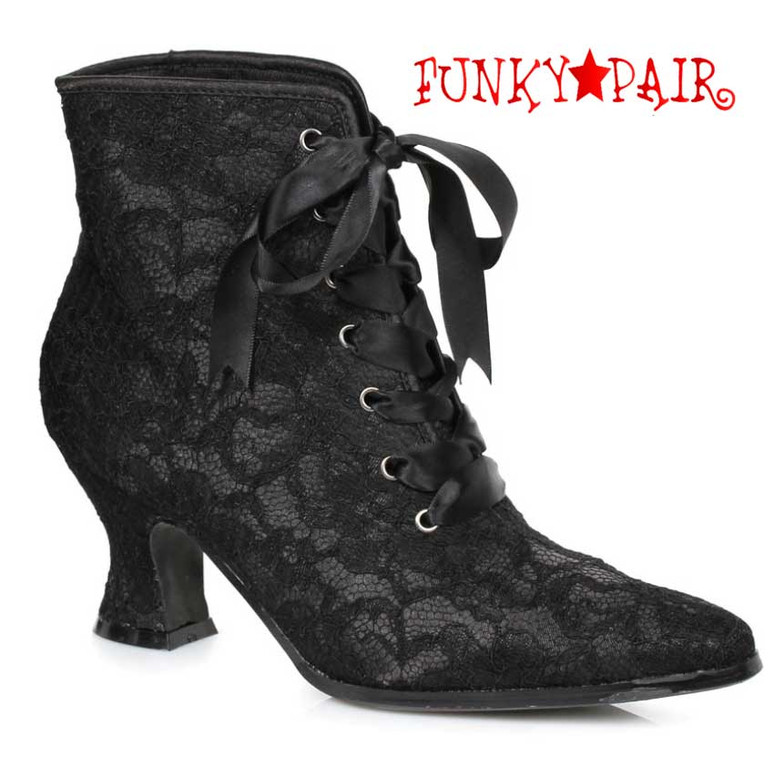 "Black 2.5"" Lace Ankle Boots 253-Elizabeth Ellie shoes"