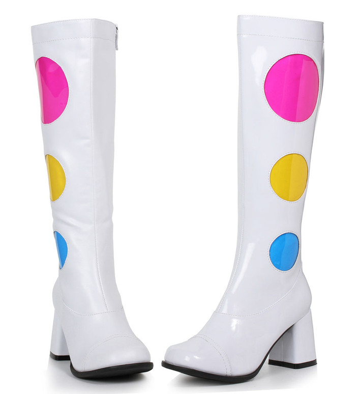 1960s Boots 300-Dotty  Approximately 3 inch GoGo Boots with circle, side zipper   1031 Costume Shoes