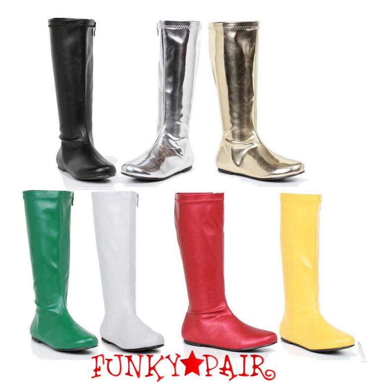 "1031 Shoes   106-Avenge 1"" Flat Knee High Go-Go Boots"