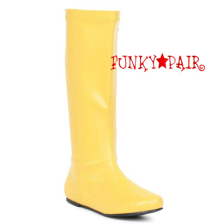 "Yellow 106-Avenge 1"" Flat Knee High Go-Go Boots"