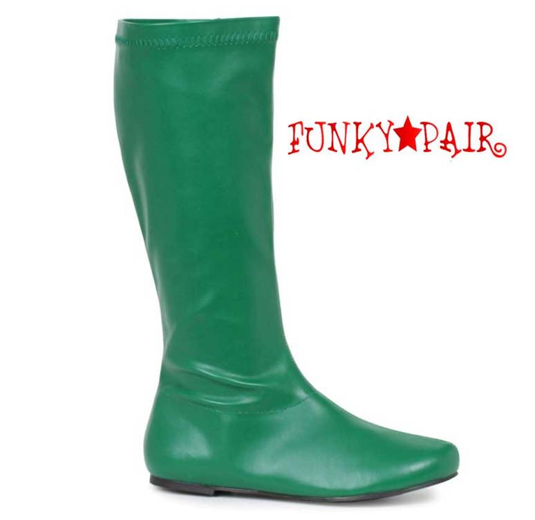"Green 106-Avenge 1"" Flat Knee High Go-Go Boots"