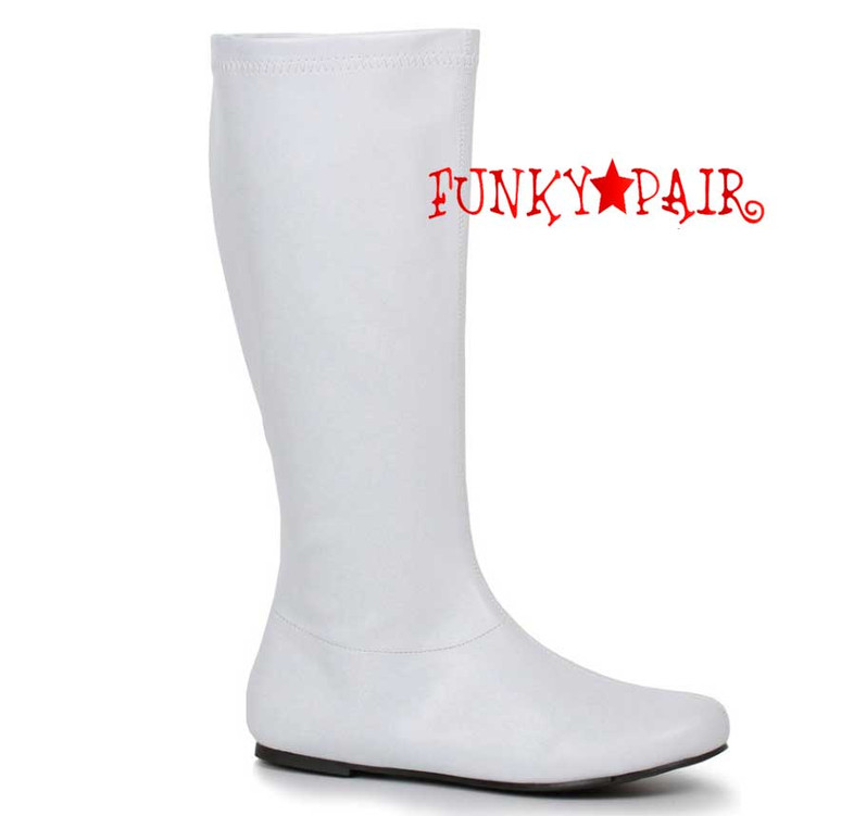"""White 106-Avenge 1"""" Flat Knee High Go-Go Boots"""
